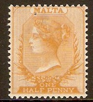 Malta 1882 ½d Orange-yellow. SG18.