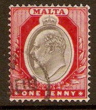 Malta 1903 1d Blackish brown and red. SG39.