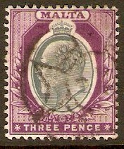 Malta 1903 3d Grey and purple. SG42.