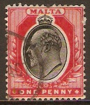 Malta 1904 1d Black and red. SG48.
