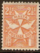 Malta 1925 2½d orange. SGD15.