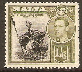 Malta 1938 1s.6d Black and olive-green. SG227.