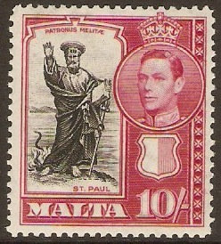 Malta 1938 10s black and carmine. SG231.