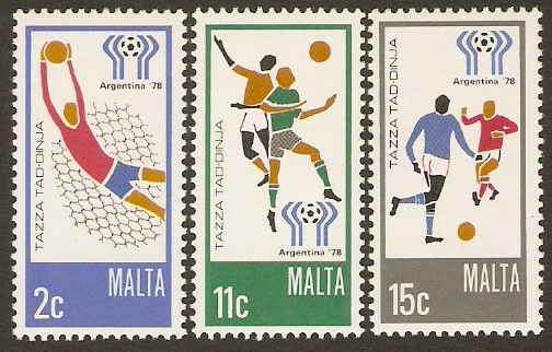 Malta 1978 World Cup Football Set. SG601-SG603.