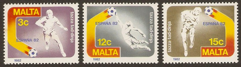 Malta 1982 World Cup Football Stamps. SG694-SG696.