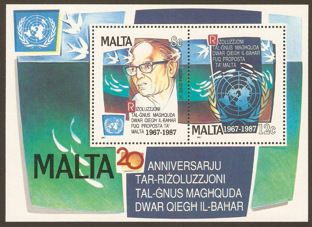 Malta 1987 UN Seabed Resolution Anniversary Sheet. SGMS818.