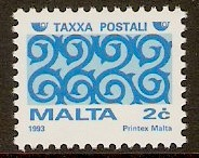 Malta 1993 2c Blue and light blue Postage Due. SGD51.