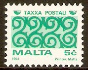 Malta 1993 5c Green and turquoise Postage Due. SGD52.