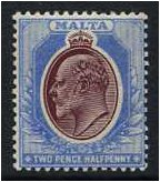 Malta 1903 2½d. Maroon and Blue. SG41.
