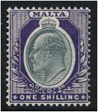 Malta 1903 1s. Grey and Violet. SG44.