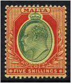 Malta 1904 5s. Green and Red on Yellow Paper. SG63.