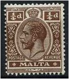 Malta 1914 ¼d. Deep Brown. SG69a.