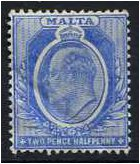Malta 1904 2½d. Bright Blue. SG53.