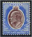 Malta 1904 2½d. Maroon and Blue. SG52.