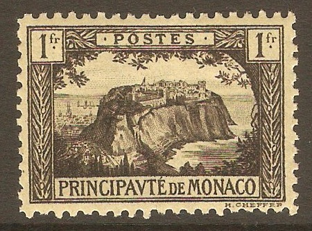 Monaco 1922 1f Black on yellow. SG60.
