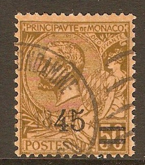 Monaco 1924 45 on 50c Brown on buff. SG70.