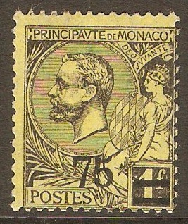 Monaco 1924 75 on 1f Black on yellow. SG71.