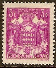 Monaco 1933 3c Bright purple. SG118.