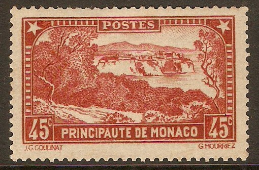 Monaco 1933 45c Red-brown - Rock series. SG127.