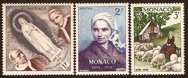 Monaco Stamps 1958 1f To 3f Stamps SG598 SG600 14872 Kayatana
