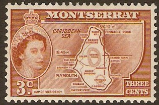 "Montserrat 1953 3c Orange-brown inscr. ""PRESIDENCY"". SG139."