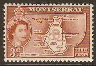 "Montserrat 1953 3c Orange-brown inscr. ""COLONY"". SG139a."