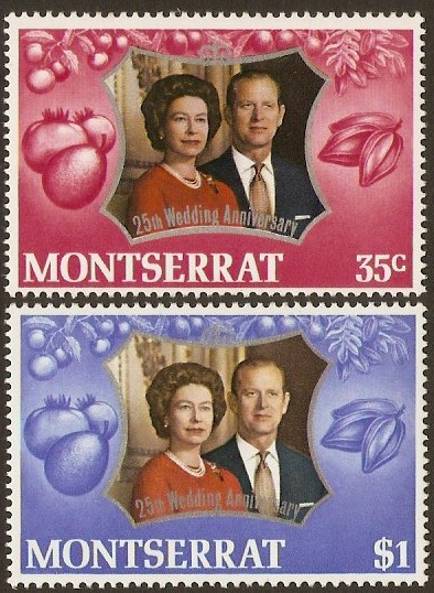 Montserrat 1972 Royal Silver Wedding. SG307-SG308.