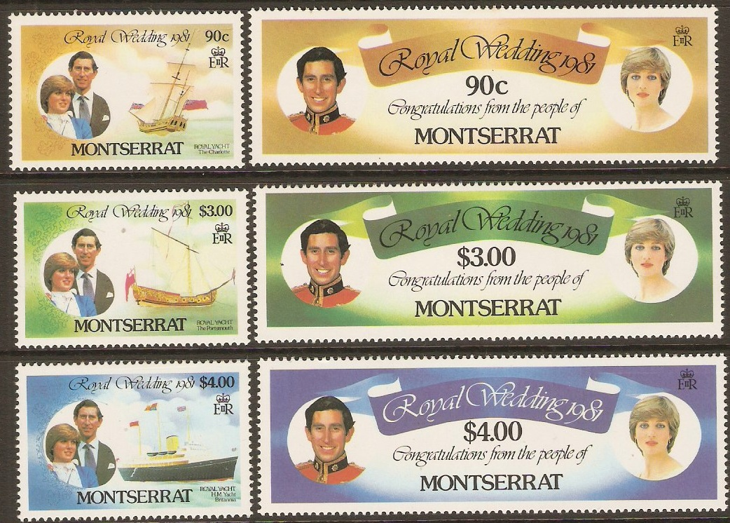 Montserrat 1981 Royal Wedding Set. SG510-SG515.