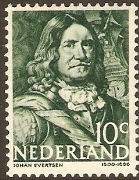 Netherlands 1943 10c blue-green. SG579.