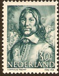 Netherlands 1943 30c greenish blue. SG586.