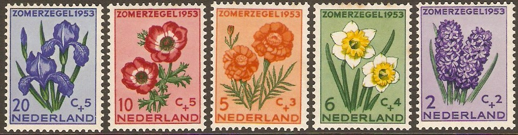 Netherlands 1953 Flowers Set. SG764-SG768.