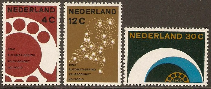 Netherlands 1962 Telephone Opening Stamps. SG926-SG928.