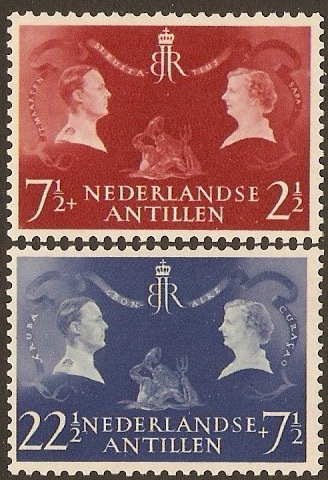 Netherlands Antilles 1955 Royal Visit Stamps. SG350-SG351.