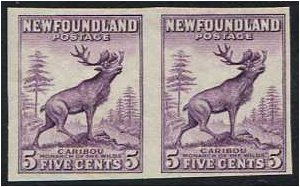 Newfoundland 1932 5c. Maroon Imperforate Pair Stamps. SG225ca.