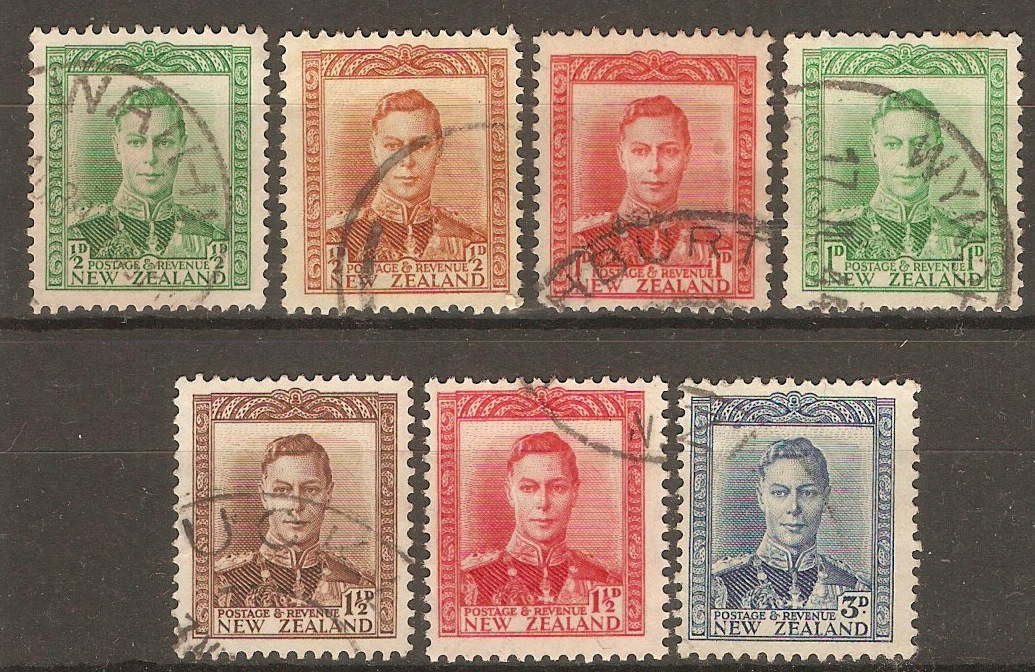 New Zealand 1938 King George VI definitives set. SG603-SG609.