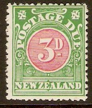 New Zealand 1902 3d Red and green - Postage Due. SGD36.