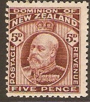 New Zealand 1909 5d Red-brown. SG402.