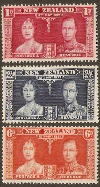 New Zealand 1937 Coronation Stamps. SG599-SG601.