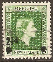 New Zealand 1961 2½d on 2d Bluish green Official Stamp. SGO169.