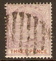 Lagos 1887 3d Dull mauve and chestnut. SG32.