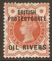 Oil Rivers 1892 ½d Vermilion. SG1.