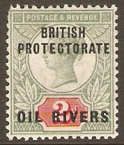 Oil Rivers 1892 2d Grey-green and carmine. SG3.
