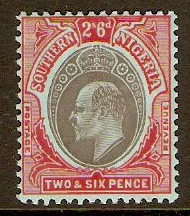 Southern Nigeria 1907 2s.6d Black and red on blue. SG41.