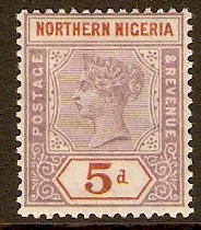 Northern Nigeria 1900 5d Dull mauve and chestnut. SG5.