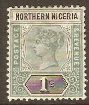 Northern Nigeria 1900 1s Green and black. SG7.