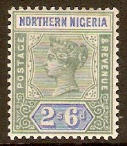 Northern Nigeria 1900 2s.6d Green and ultramarine. SG8.