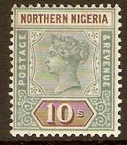 Northern Nigeria 1900 10s Green and brown. SG9.