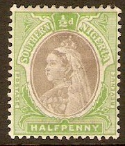 Southern Nigeria 1901 ½d Sepia and green. SG1a.