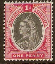Southern Nigeria 1901 1d Black and carmine. SG2.