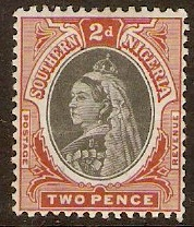 Southern Nigeria 1901 2d Black and red-brown. SG3.